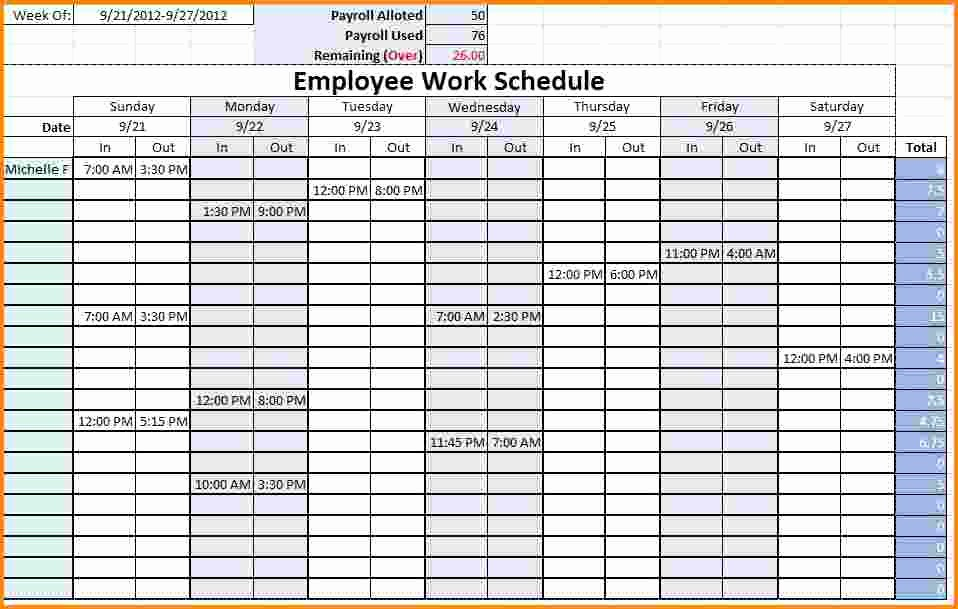 Weekly Employee Schedule Template Excel Awesome 7 Monthly Work Schedule Template