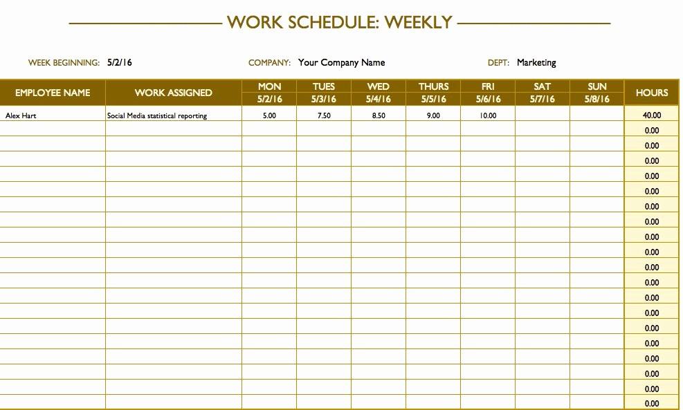 Weekly Employee Schedule Template Excel Awesome Free Work Schedule Templates for Word and Excel