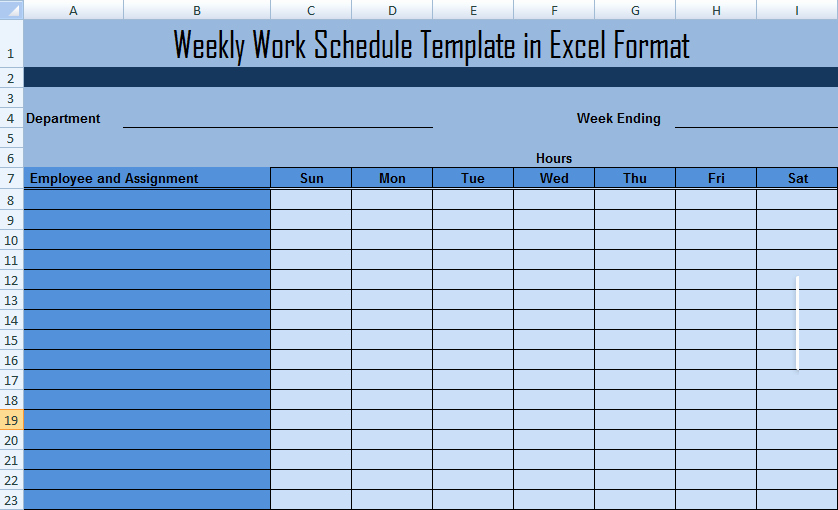 Weekly Employee Schedule Template Excel Awesome Weekly Work Schedule Template In Excel format