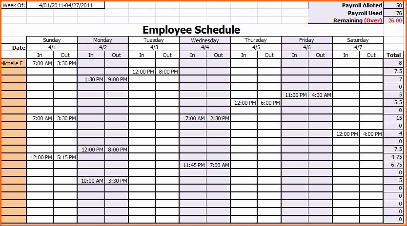 Weekly Employee Schedule Template Excel Beautiful 6 Weekly Work Schedule Template Excel Bud Template