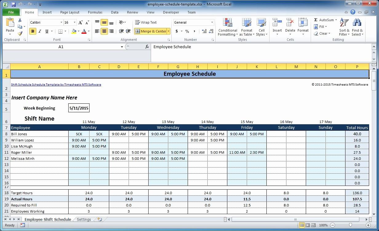 Weekly Employee Schedule Template Excel Elegant Free Employee and Shift Schedule Templates