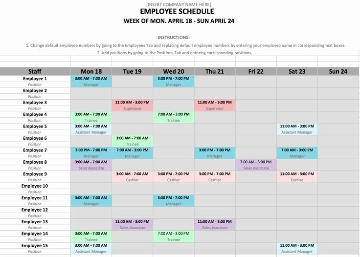 Weekly Employee Schedule Template Excel Elegant How to Make A Work Schedule for Employees Free – Printable