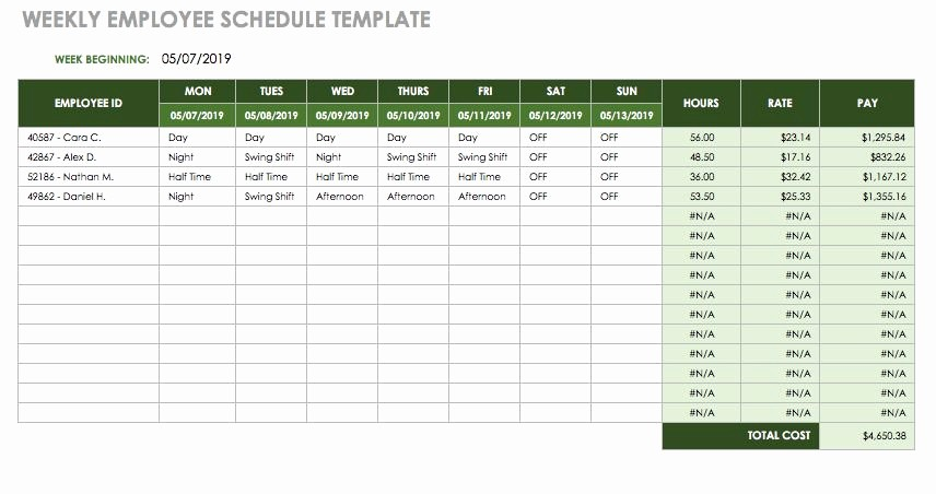 Weekly Employee Schedule Template Excel Lovely 17 Free Timesheet and Time Card Templates