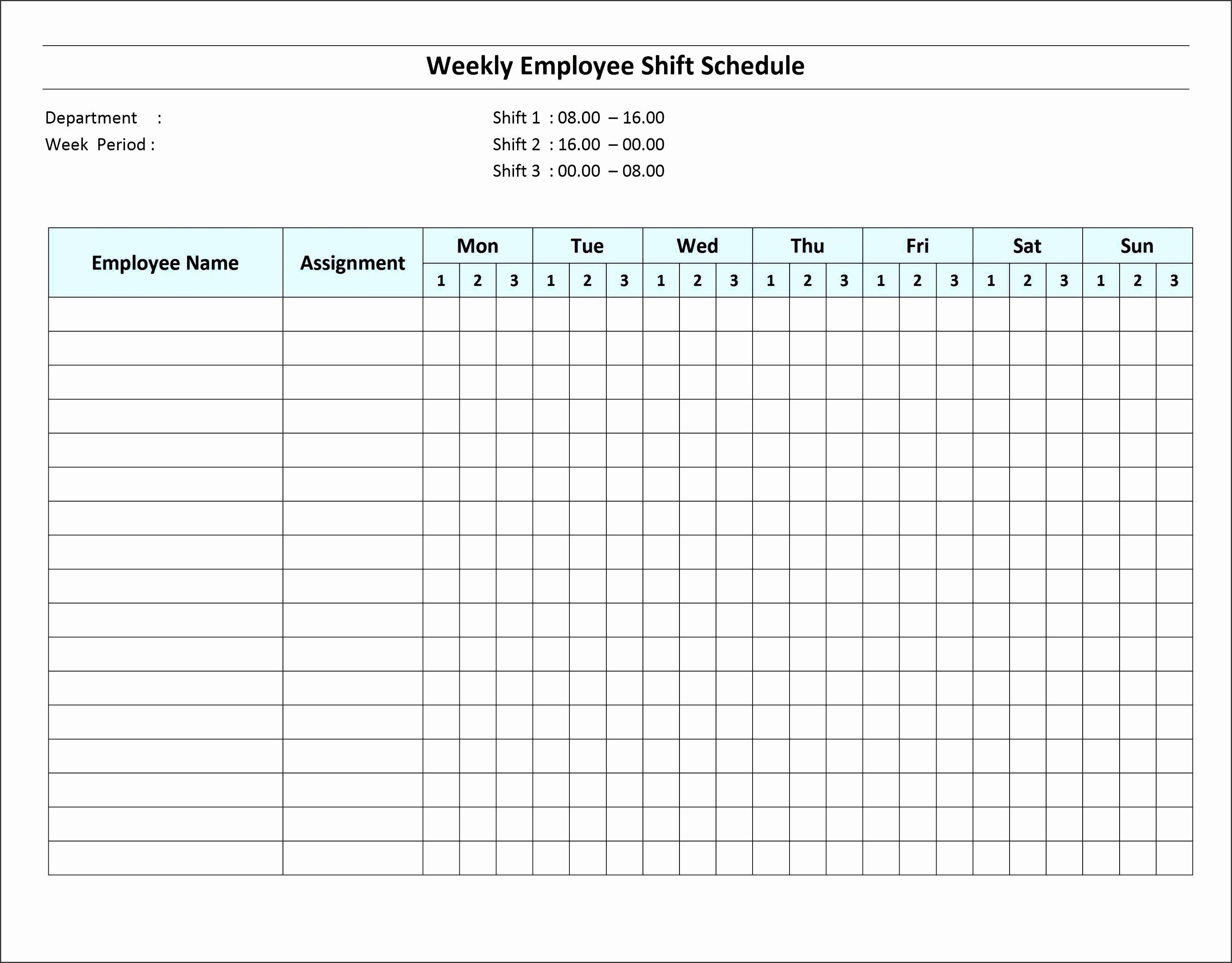 Weekly Employee Shift Schedule Template Awesome 6 Excel Daily Work Schedule Sampletemplatess