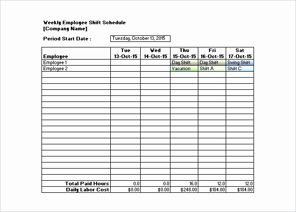 Weekly Employee Shift Schedule Template Awesome Download Sample Weekly Employee Shift Schedule Template
