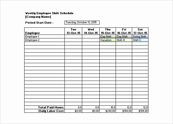 Weekly Employee Shift Schedule Template Awesome Download Sample Weekly Employee Shift Schedule Template