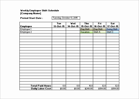 Weekly Employee Shift Schedule Template Awesome Shift Schedule Templates – 12 Free Word Excel Pdf