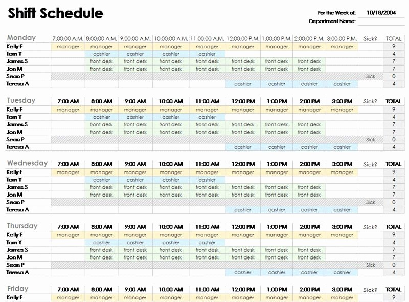 Weekly Employee Shift Schedule Template Elegant Free Employee Shift Schedule Template for Excel Excel