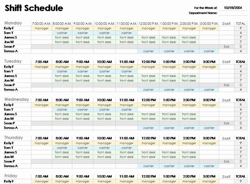 Weekly Employee Shift Schedule Template Elegant Free Employee Shift Schedule Template for Excel Excel