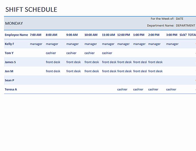 Weekly Employee Shift Schedule Template Fresh Weekly Employee Shift Schedule