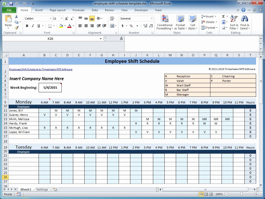 Weekly Employee Shift Schedule Template Fresh Weekly Employee Shift Schedule Template Excel