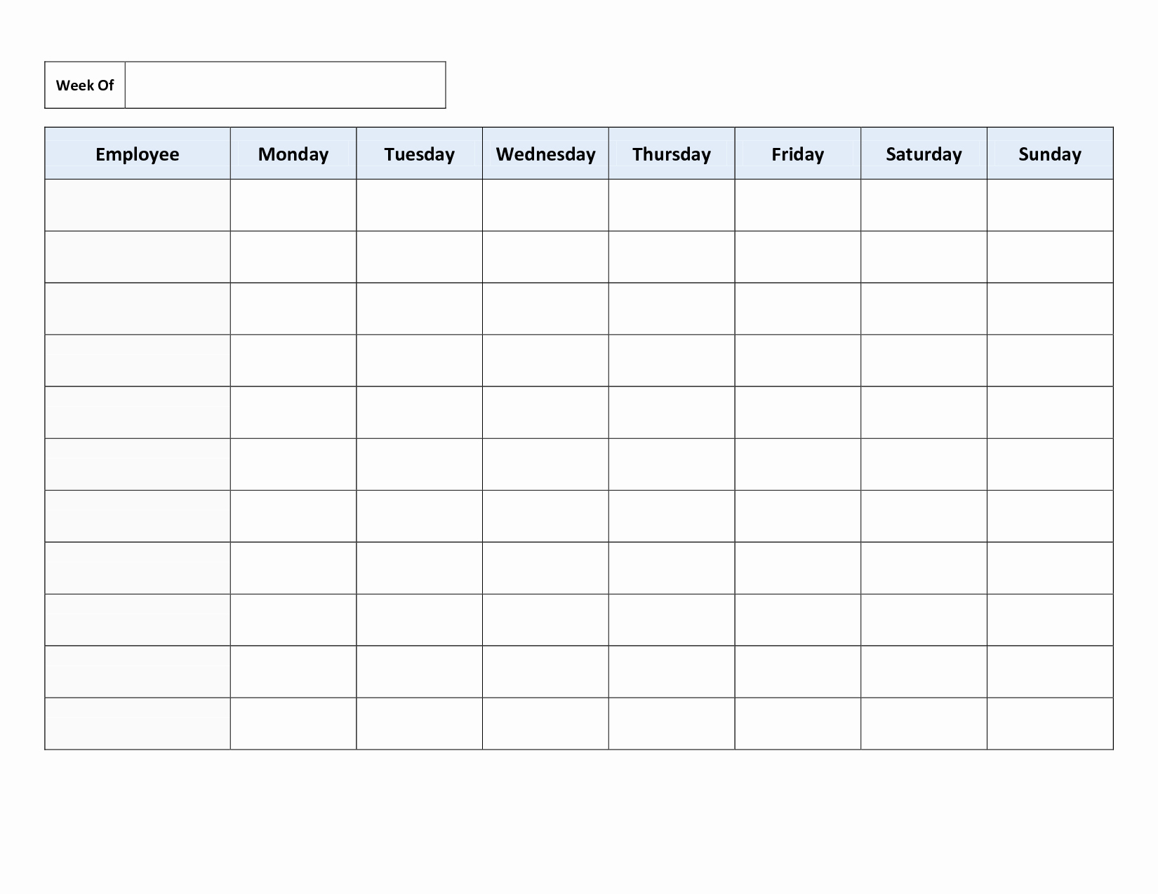 Weekly Employee Shift Schedule Template Inspirational Free Printable Work Schedules