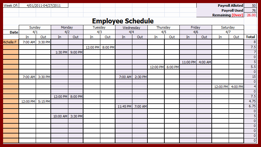 Weekly Employee Shift Schedule Template Lovely Weekly Employee Schedule Template