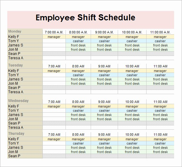 Weekly Employee Shift Schedule Template Luxury 13 Employee Schedule Samples