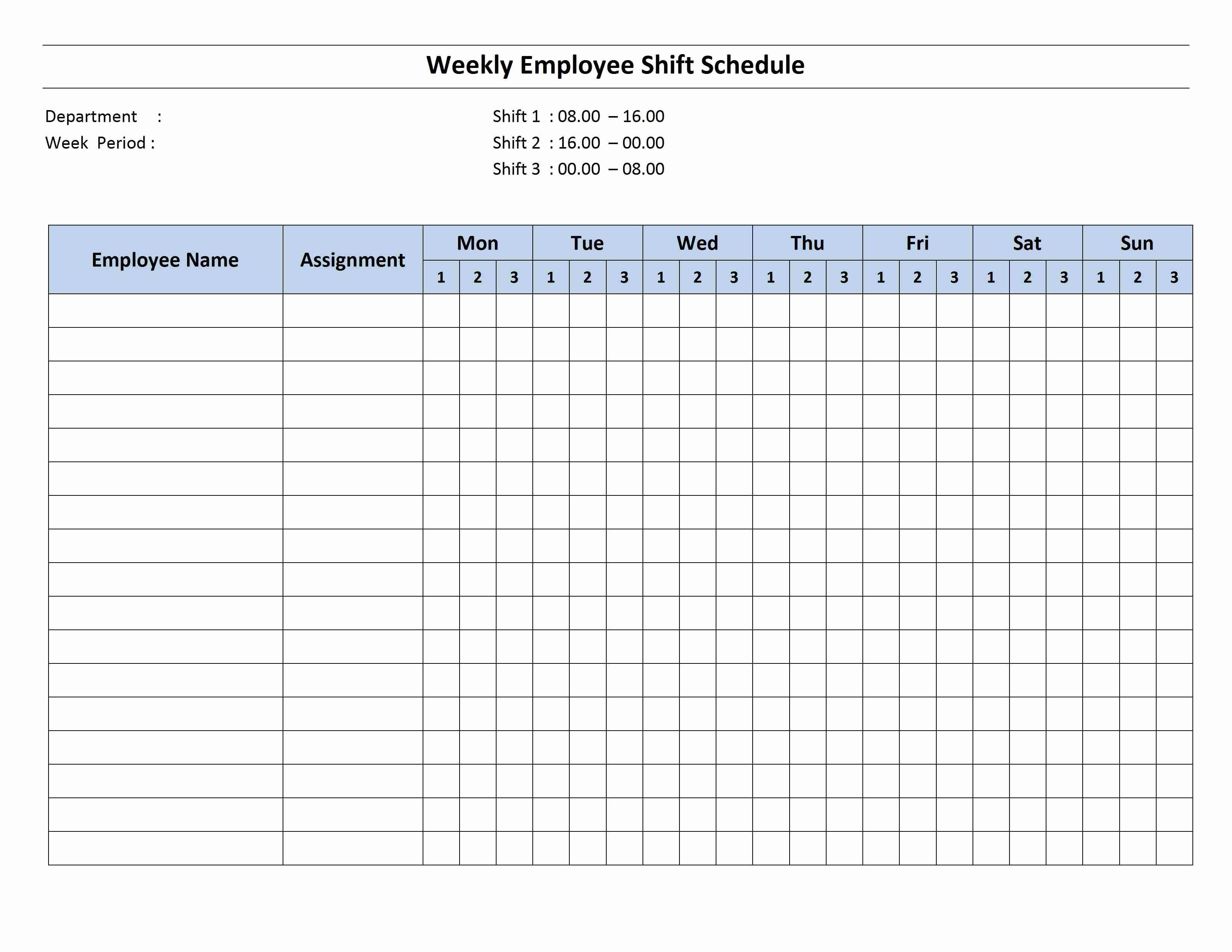 Weekly Employee Shift Schedule Template Luxury Weekly 8 Hour Shift Schedule