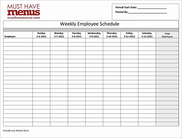 Weekly Employee Shift Schedule Template New Employee Schedule Templates 14 Free Sample Example