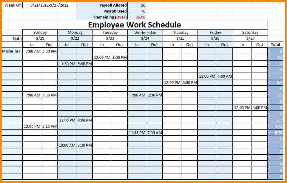 Weekly Employee Shift Schedule Template Unique Monthly Employee Schedule Template Excel
