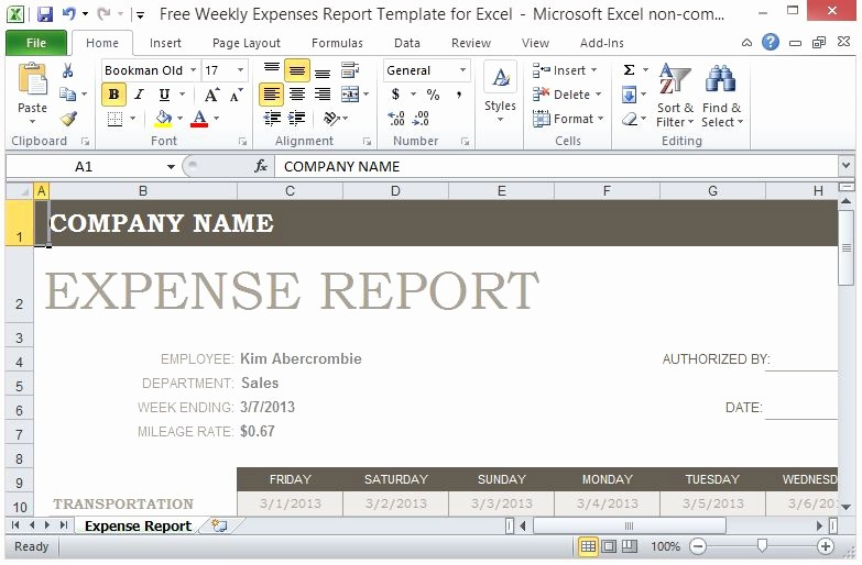 Weekly Expense Report Template Excel Best Of Free Weekly Expenses Report Template for Excel