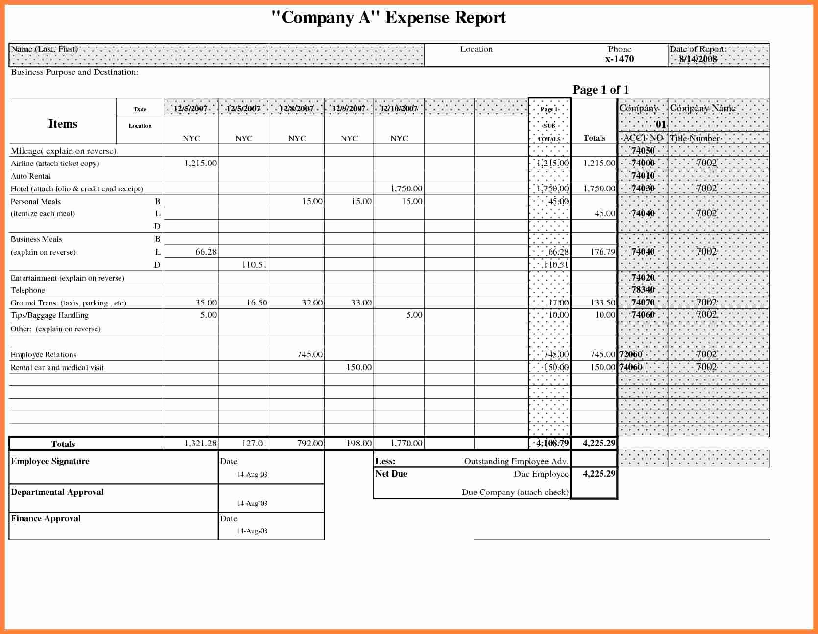 Weekly Expense Report Template Excel Elegant 8 Business Travel Expense Report Template