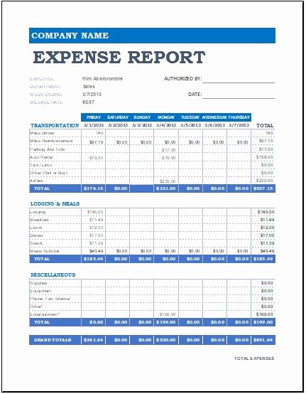 Weekly Expense Report Template Excel Fresh Download Monthly Expense Report Template