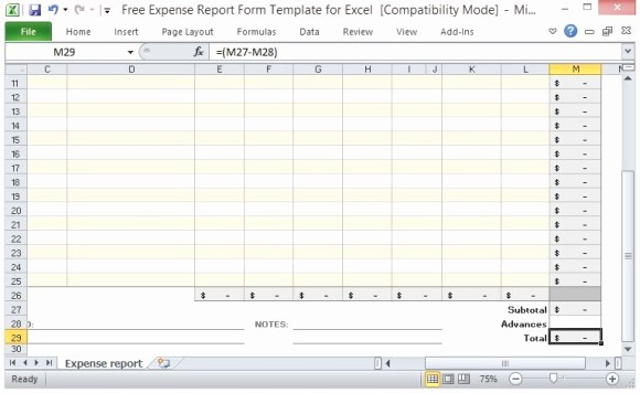 Weekly Expense Report Template Excel Fresh Free Expense Report form Template for Excel