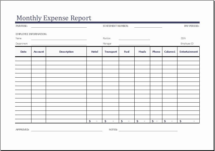 Weekly Expense Report Template Excel Fresh Monthly Expense Report Template