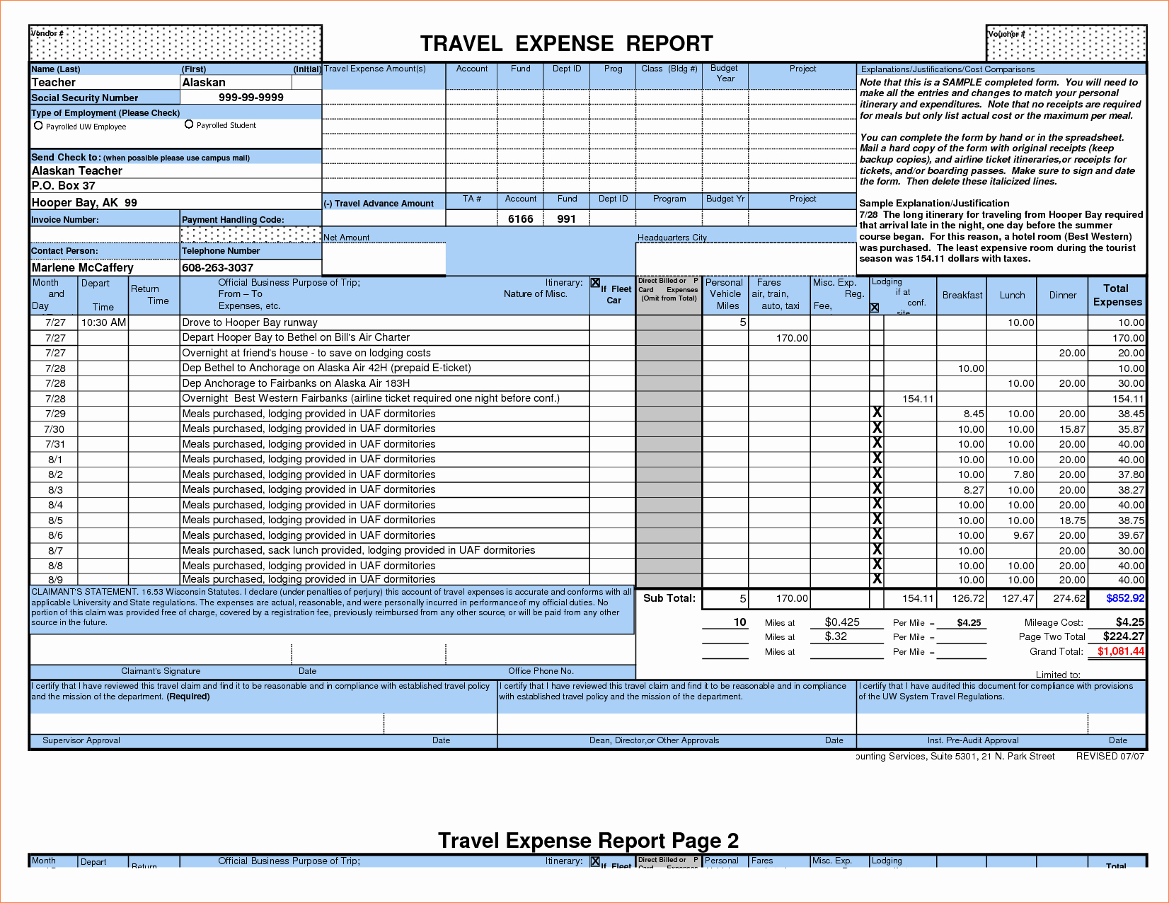 Weekly Expense Report Template Excel Lovely 7 Expense Report Template Excelreport Template Document