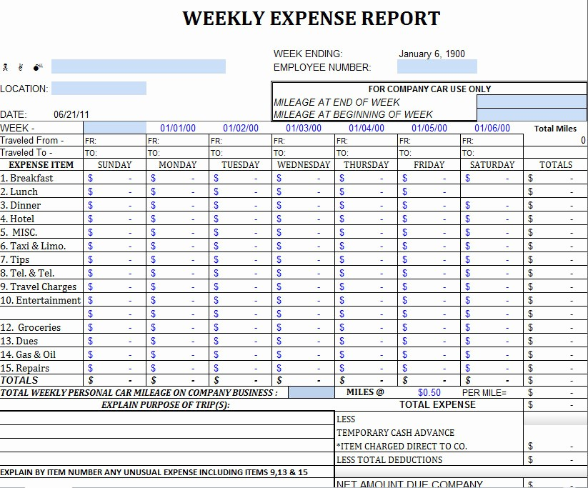 Weekly Expense Report Template Excel Luxury Excel Expense Report Template