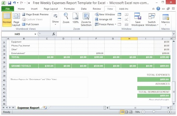 Weekly Expense Report Template Excel New Free Weekly Expenses Report Template for Excel