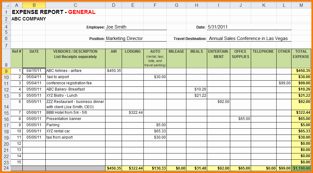 Weekly Expense Report Template Excel Unique 5 Expense Report Excel