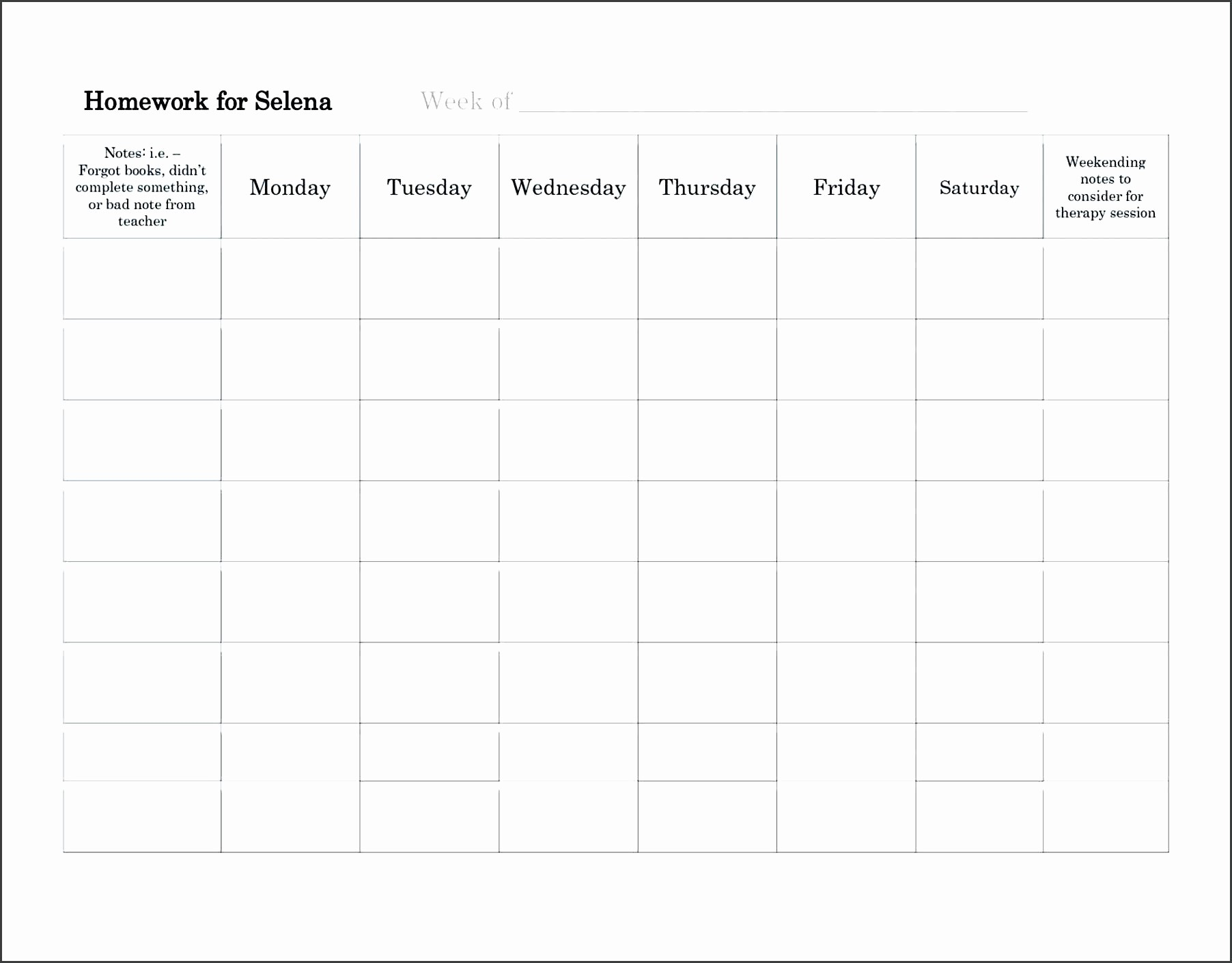 Weekly Homework assignment Sheet Template Awesome assignment Sheet Template for Students Gallery