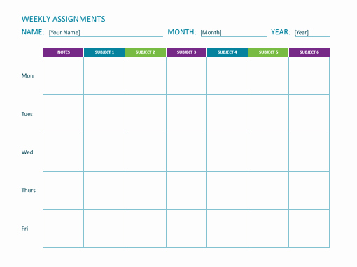 Weekly Homework assignment Sheet Template Awesome Weekly assignment Sheet Fice Templates