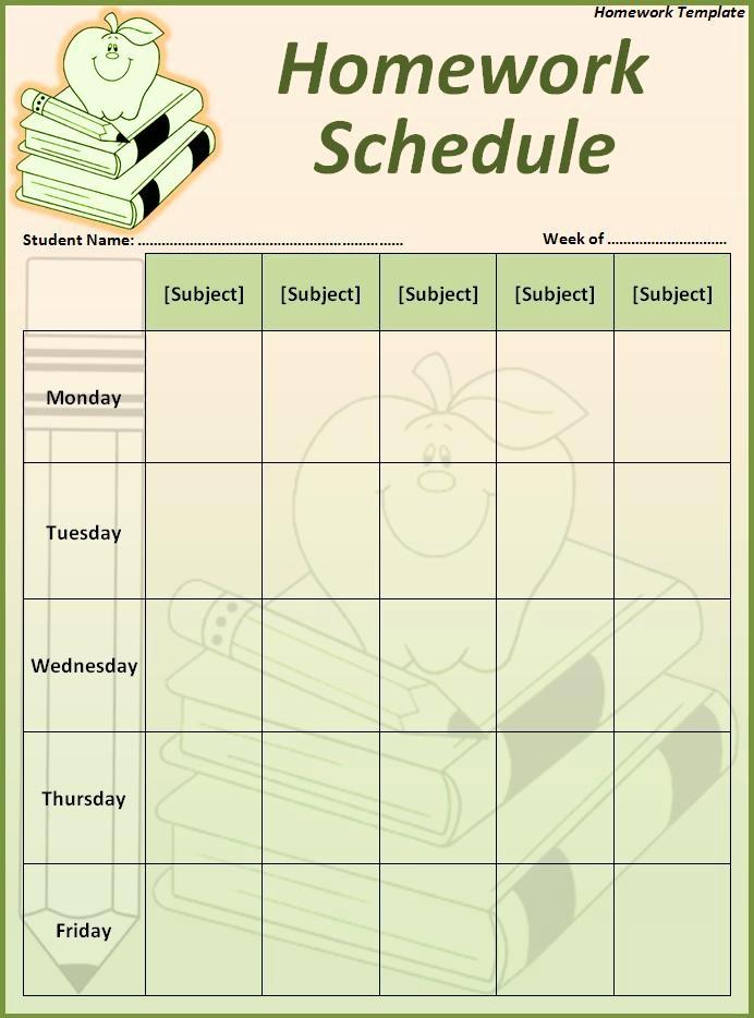 Weekly Homework assignment Sheet Template Beautiful 16 Homework Templates Excel Pdf formats