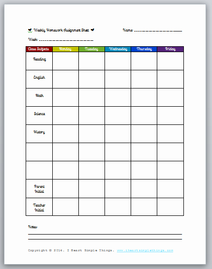 Weekly Homework assignment Sheet Template Beautiful Free Printable Weekly Homework assignment Sheet