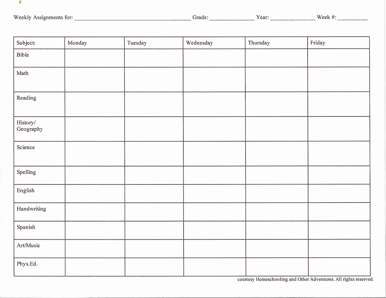 Weekly Homework assignment Sheet Template Beautiful Homeschooling and Other Adventures Planning Xt Steps
