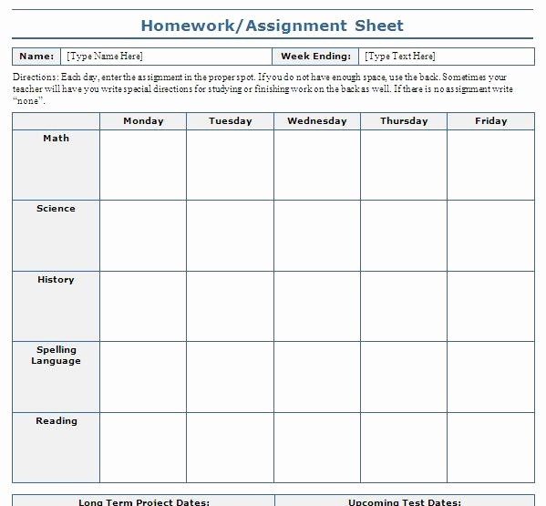 Weekly Homework assignment Sheet Template Best Of 7 Best Of Free Printable assignment Sheets School