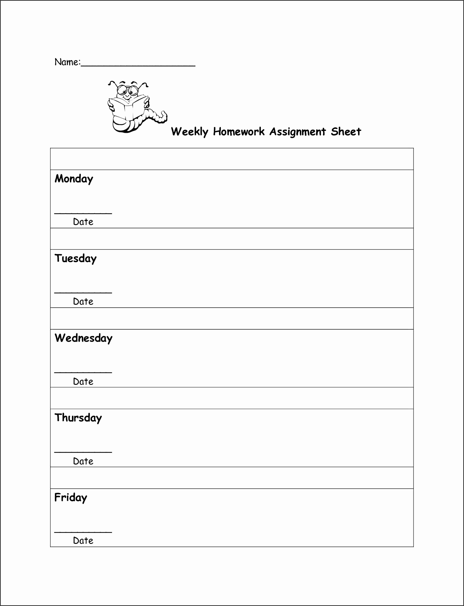 Weekly Homework assignment Sheet Template Best Of 9 Student assignment Planner Template In Excel