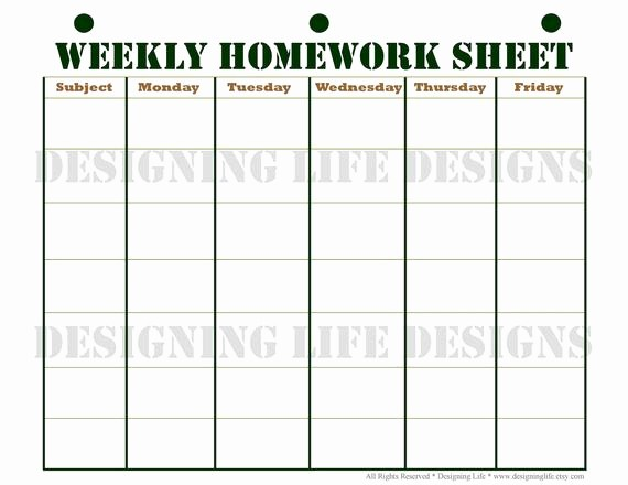 Weekly Homework assignment Sheet Template Elegant Homework Planner Schedule and Weekly Homework Sheet