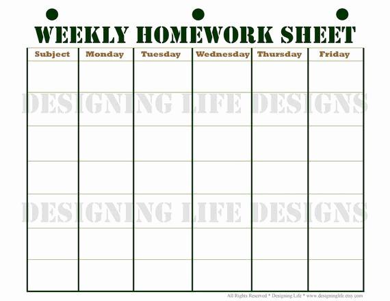 Weekly Homework assignment Sheet Template Elegant Homework Planner Schedule and Weekly Homework Sheet