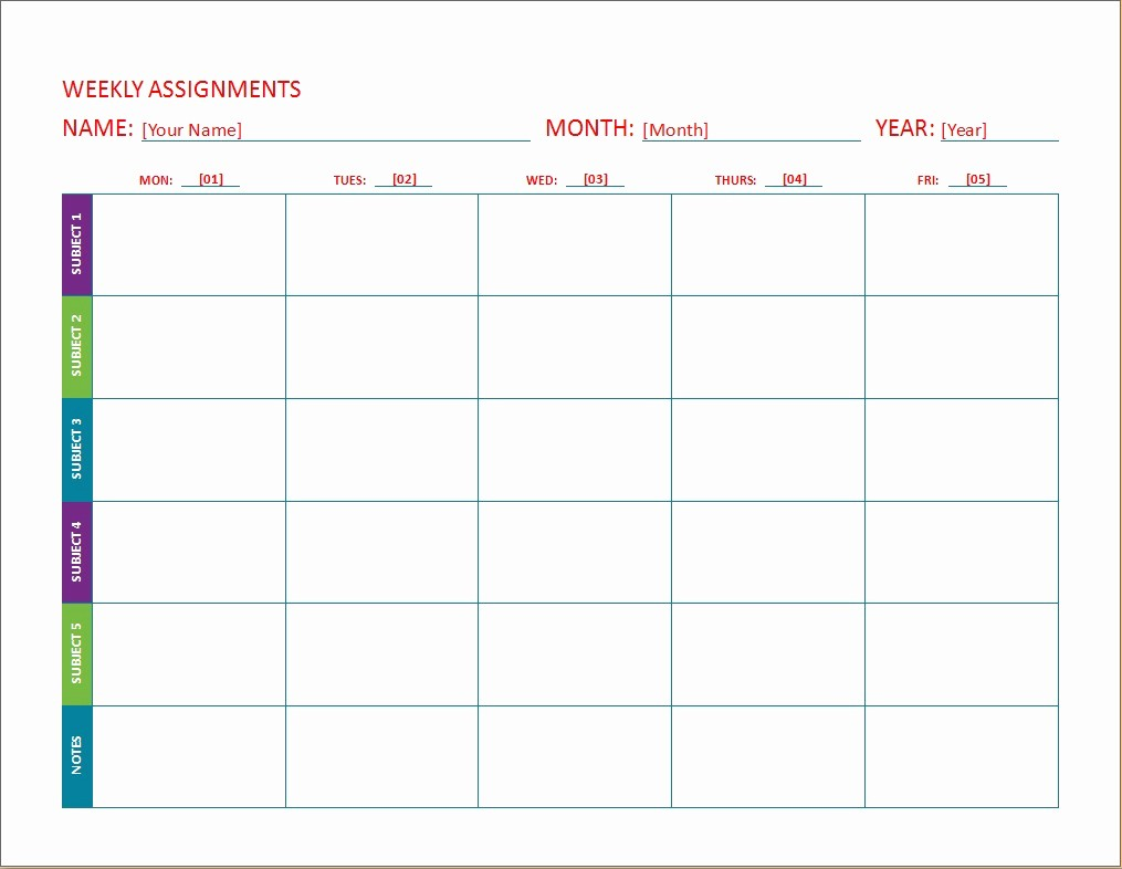 Weekly Homework assignment Sheet Template Elegant Weekly assignment Calendar Templates