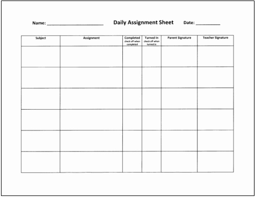 Weekly Homework assignment Sheet Template Inspirational Homework Tips that Really Work for Teachers Parents and