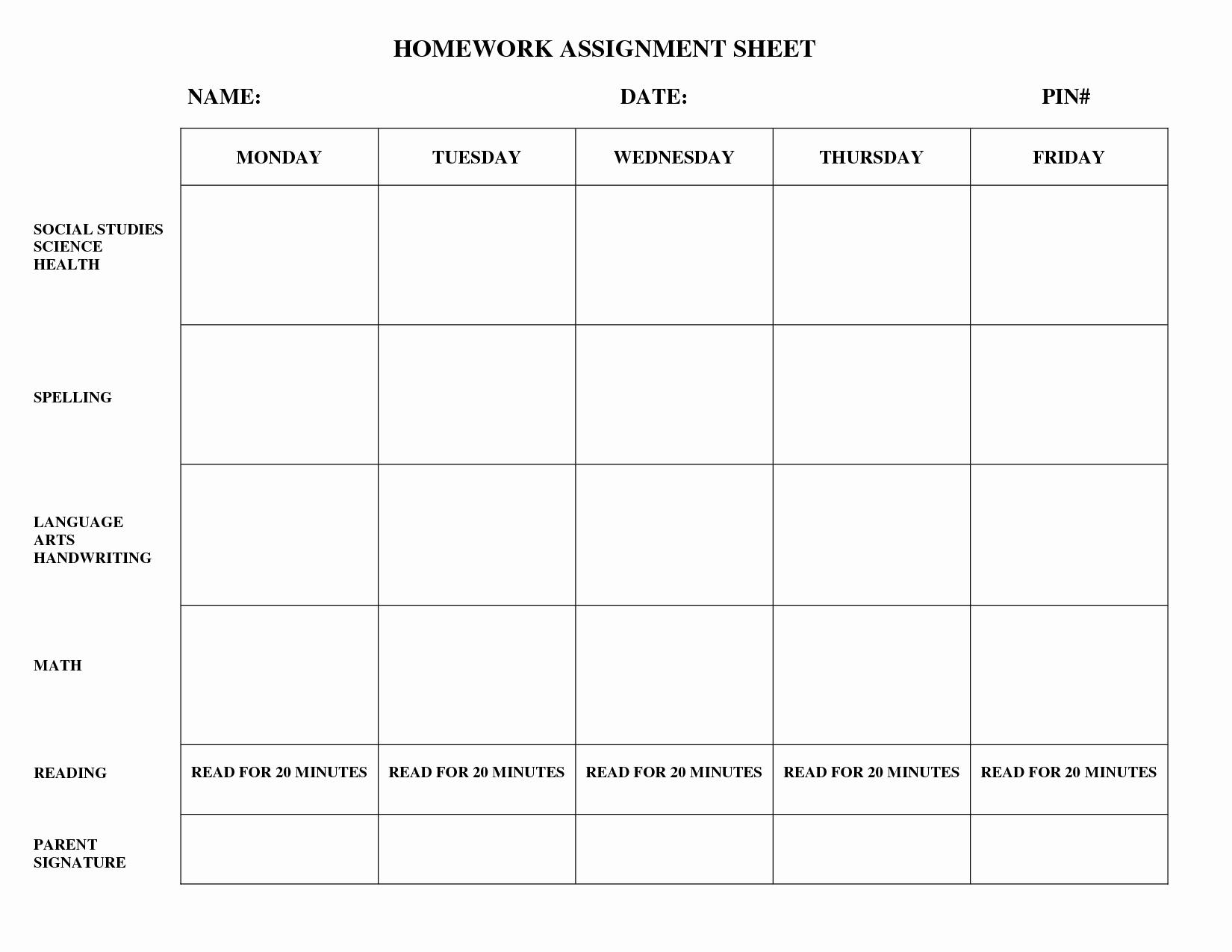 Weekly Homework assignment Sheet Template Lovely 15 Best Of Free Homework Worksheets Printable