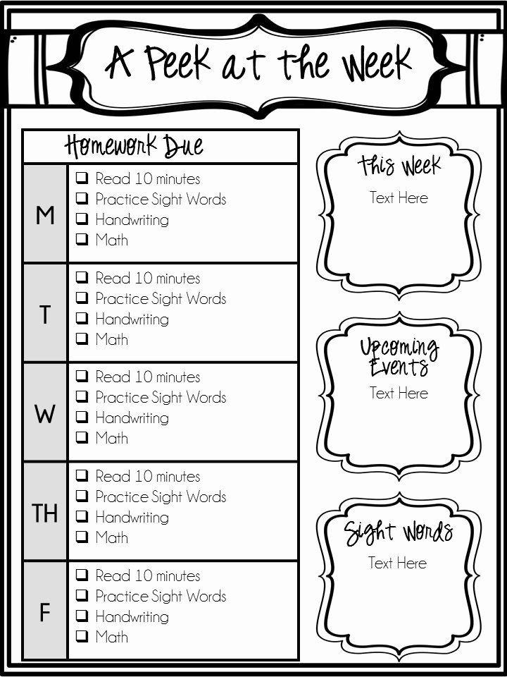 Weekly Homework assignment Sheet Template Lovely 25 Best Ideas About Weekly Newsletter Template On Pinterest