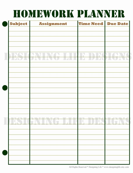 Weekly Homework assignment Sheet Template Luxury Homework Planner and Weekly Homework Sheet by
