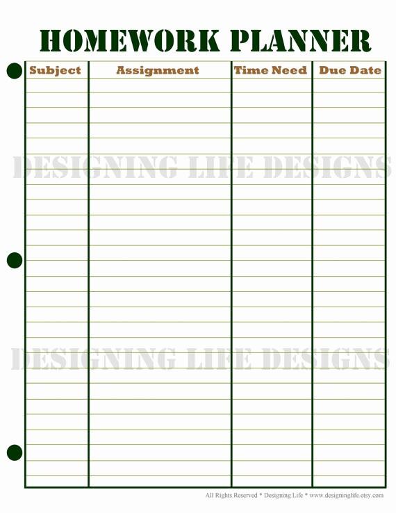 Weekly Homework assignment Sheet Template Luxury Homework Planner and Weekly Homework Sheet by