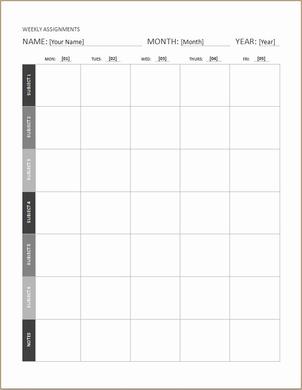 Weekly Homework assignment Sheet Template Luxury Weekly assignment Calendar Templates