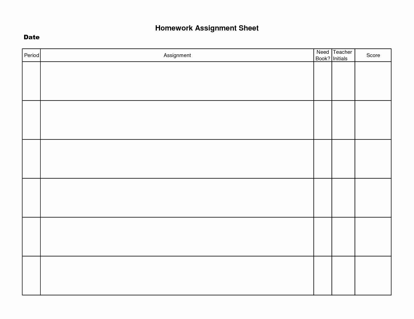 Weekly Homework assignment Sheet Template New 8 Best Of Student Homework Sheet Template Printable