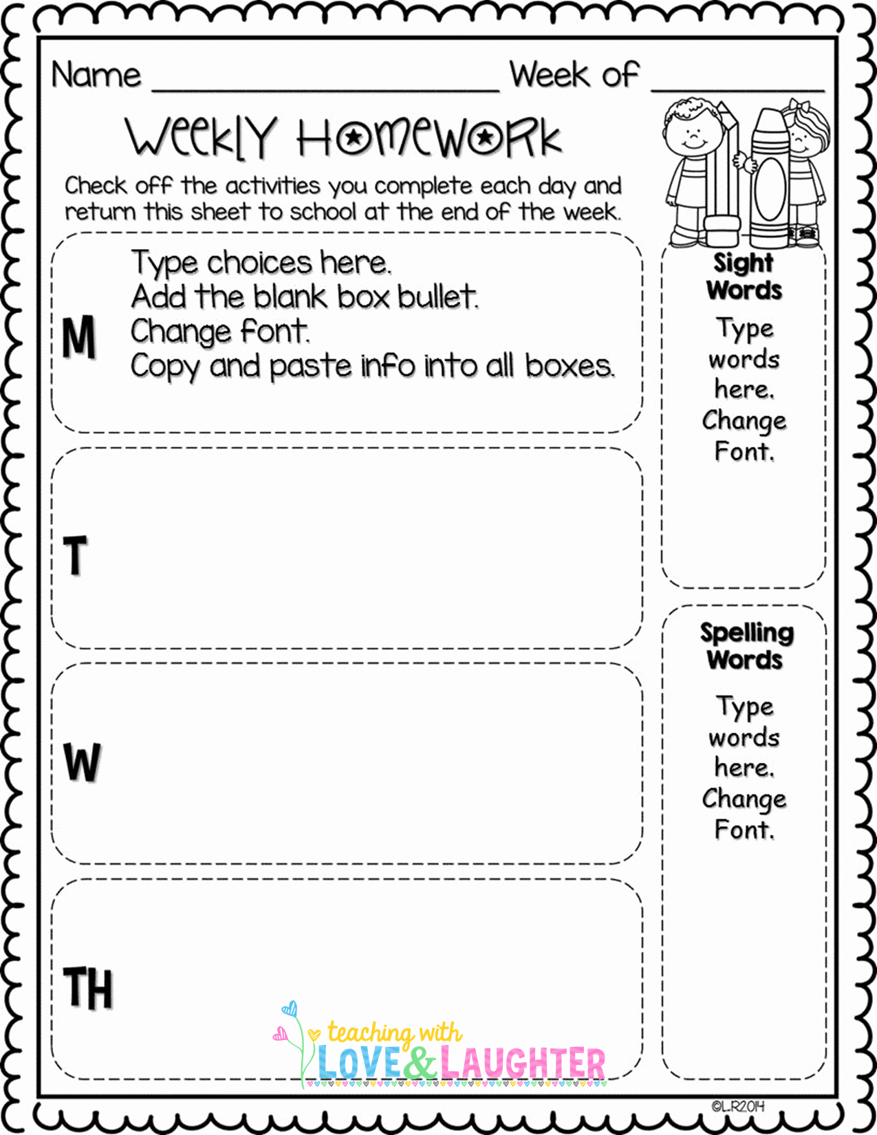 Weekly Homework assignment Sheet Template New Editable Weekly Homework Checklists Patible with First
