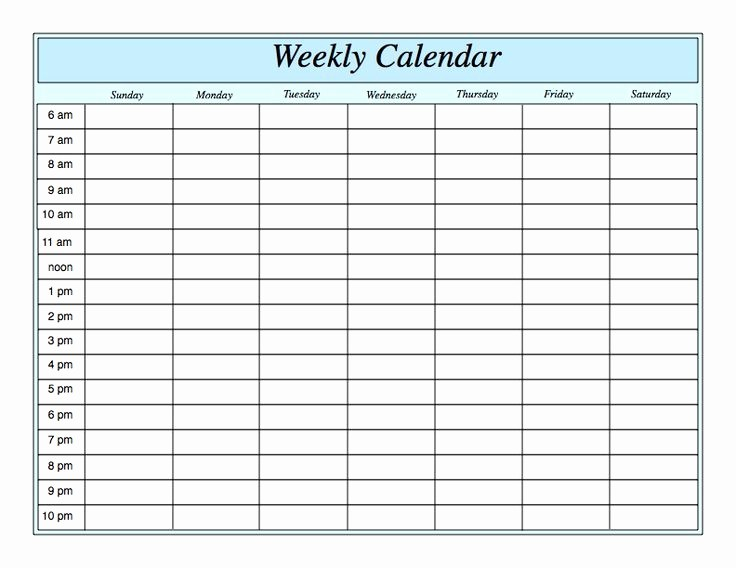 Weekly Hourly Planner Template Excel Best Of Weekly Calendar