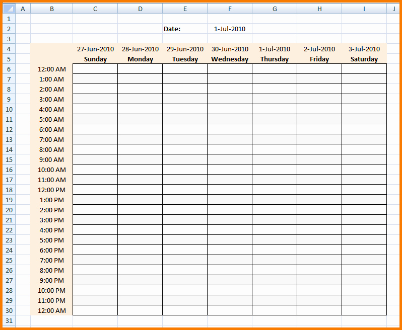 Weekly Hourly Planner Template Excel Elegant 4 Hourly Calendar